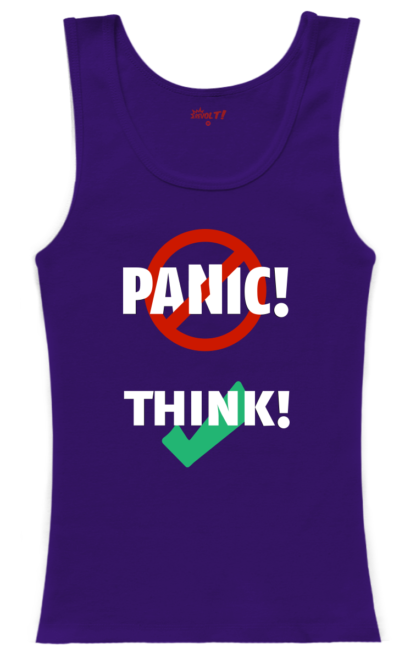 tank-top woman purple: Don't panic, think